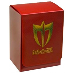 MAX PROTECTION Porta mazzo verticale Metallic Red + Lightning Gold Logo
