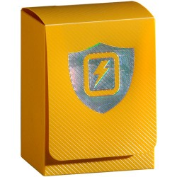 MAX PROTECTION Porta mazzo verticale Solid Yellow + Lightning Silver Logo